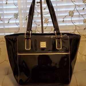 Dooney & Bourke Black Patent Leather Zip Handbag